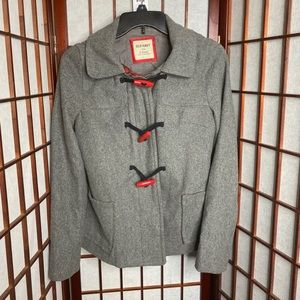 Old navy gray hooded pea coat w plaid trim